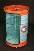 Oil drum cupboard glass cabinet Oljefatsglasskåp  GULF