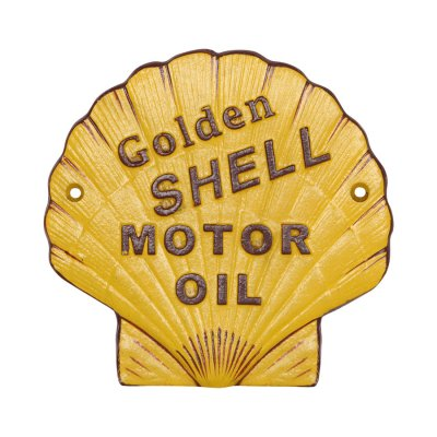 Retro skylt i gjutjärn Golden Shell Motor Oil